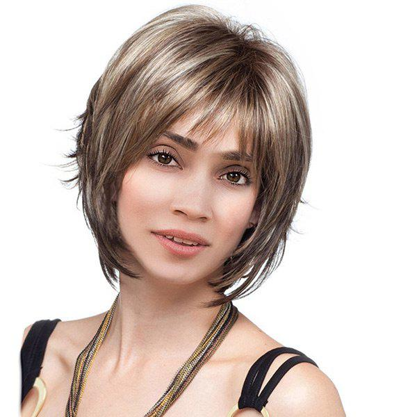 Short Side Bang Colormix Straight Synthetic WigHAIR<br><br>Color: BROWN; Type: Full Wigs; Cap Construction: Capless; Style: Straight; Material: Synthetic Hair; Bang Type: Side; Length: Short; Length Size(CM): 28; Weight: 0.1500kg; Package Contents: 1 x Wig;