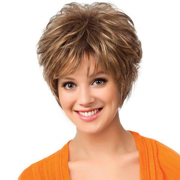 Short Side Bang Shaggy Layered Natural Straight Synthetic WigHAIR<br><br>Color: BROWN; Type: Full Wigs; Cap Construction: Capless; Style: Straight; Material: Synthetic Hair; Bang Type: Side; Length: Short; Length Size(CM): 28; Weight: 0.1500kg; Package Contents: 1 x Wig;