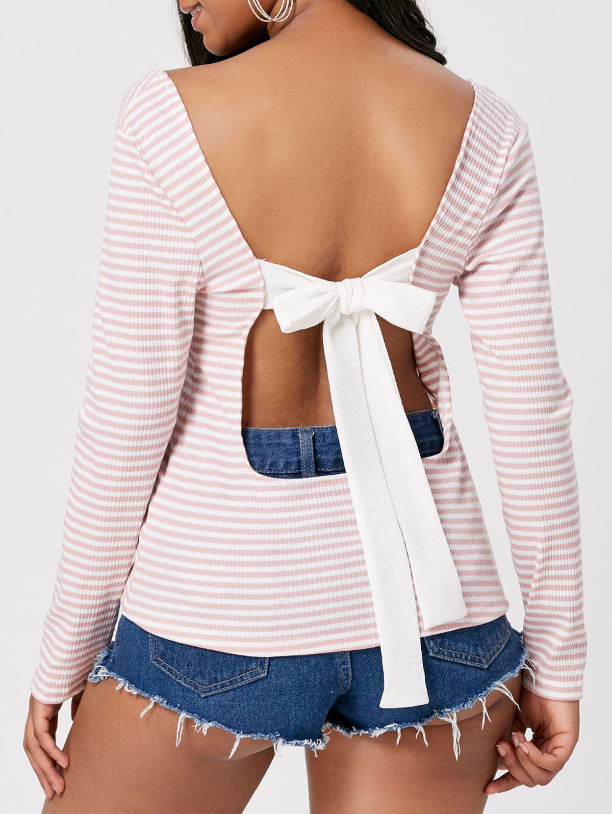 Chic Open Back Striped Self Tie T-shirt