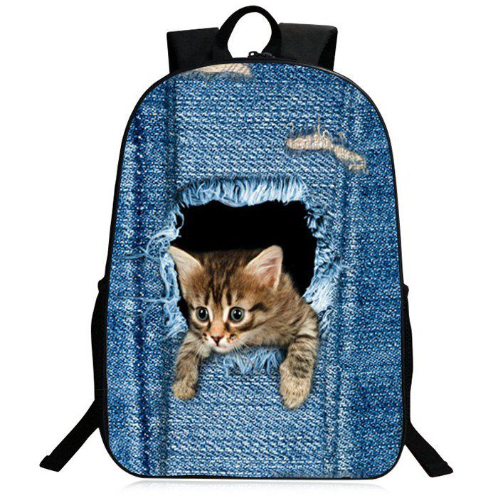 Zipper 3D Animal Pattern BackpackSHOES &amp; BAGS<br><br>Color: BLUE; Handbag Type: Backpack; Style: Fashion; Gender: For Men,For Women; Pattern Type: Animal Prints; Handbag Size: Medium(30-50cm); Closure Type: Zipper; Interior: Cell Phone Pocket; Occasion: Versatile; Main Material: Polyester; Weight: 1.2000kg; Size(CM)(L*W*H): 30*13*40; Package Contents: 1 x Backapck;
