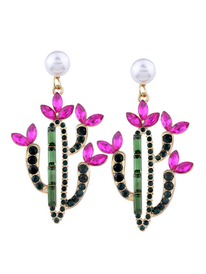 Faux Crystal Pearl Cactus Drop EarringsJEWELRY<br><br>Color: PINK; Earring Type: Drop Earrings; Gender: For Women; Material: Rhinestone; Style: Trendy; Shape/Pattern: Plant; Length: 6.5CM; Weight: 0.0400kg; Package Contents: 1 x Earring (Pair);