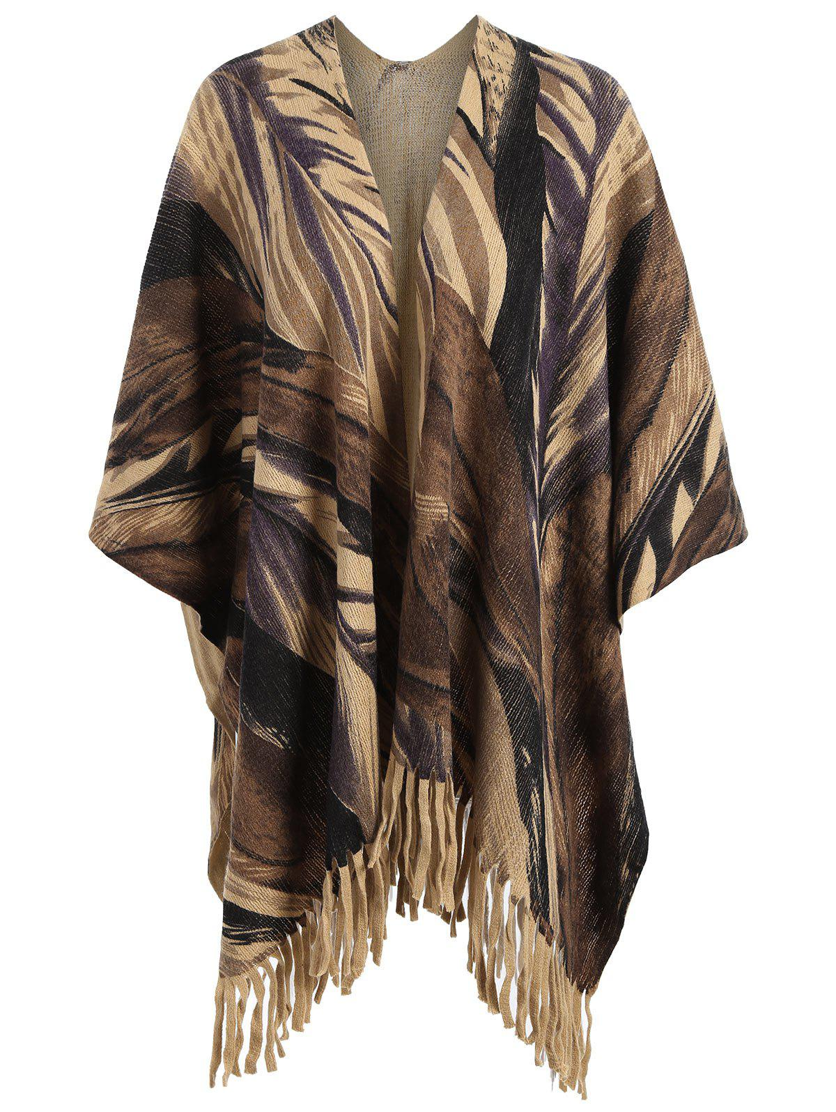 Printed Fringed Plus Size Knit CapeWOMEN<br><br>Size: ONE SIZE; Color: BROWN; Type: Cardigans; Material: Polyester,Spandex; Sleeve Length: Full; Collar: Collarless; Style: Fashion; Season: Fall; Pattern Type: Print; Weight: 0.4200kg; Package Contents: 1 x Cape;