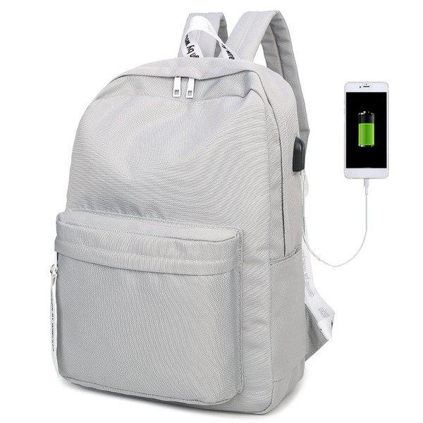 Discount USB Interface Nylon Zippers Backpack