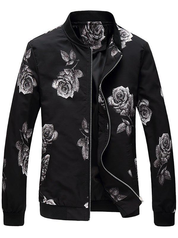 Fashion Zip Up Rose Print Bomber Jacket