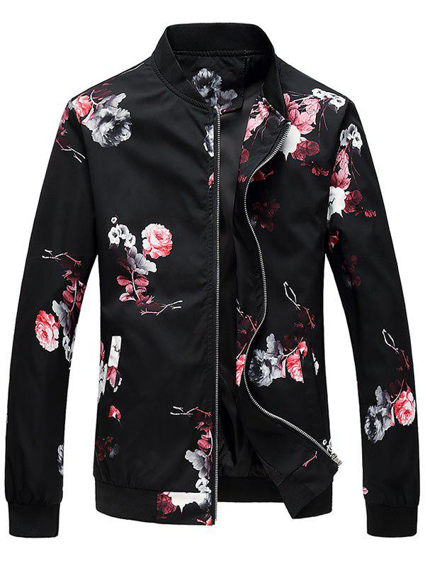 Trendy Flower Pattern Zip Up Bomber Jacket
