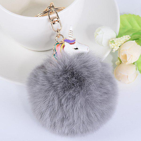 Pendant Pompon Puff Ball KeychainJEWELRY<br><br>Color: GRAY; Gender: Unisex; Style: Trendy; Shape/Pattern: Ball; Weight: 0.0500kg; Package Contents: 1 x Keyring;