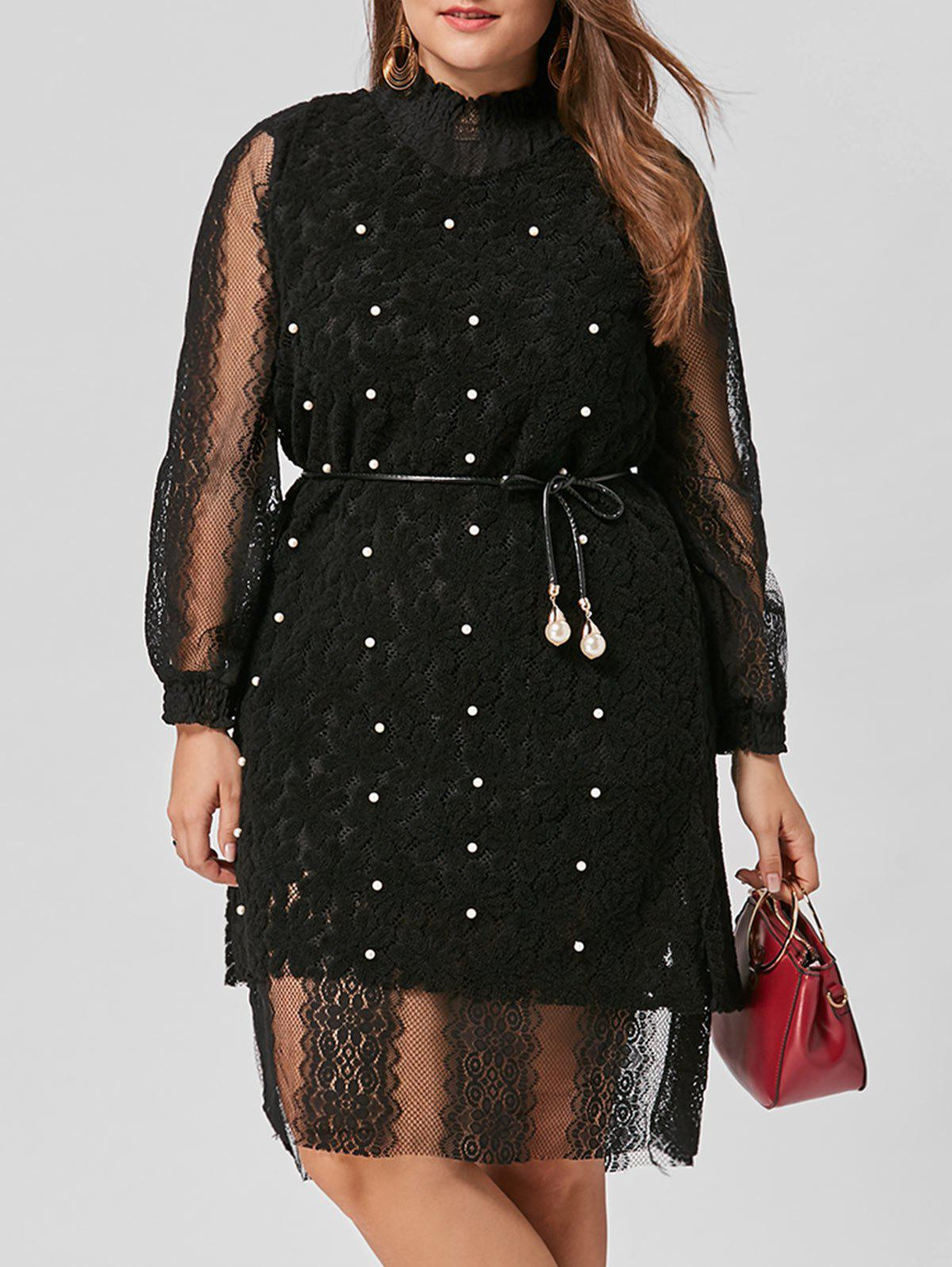 Plus Size Belted Lace Dress with Pearl Embellished VestWOMEN<br><br>Size: 2XL; Color: BLACK; Style: Casual; Material: Cotton,Polyester; Silhouette: Straight; Dresses Length: Knee-Length; Neckline: Ruffled; Sleeve Length: Long Sleeves; Embellishment: Pearls; Pattern Type: Solid; With Belt: Yes; Season: Fall; Weight: 0.5700kg; Package Contents: 1 x Dress  1 x Vest  1 x Belt;