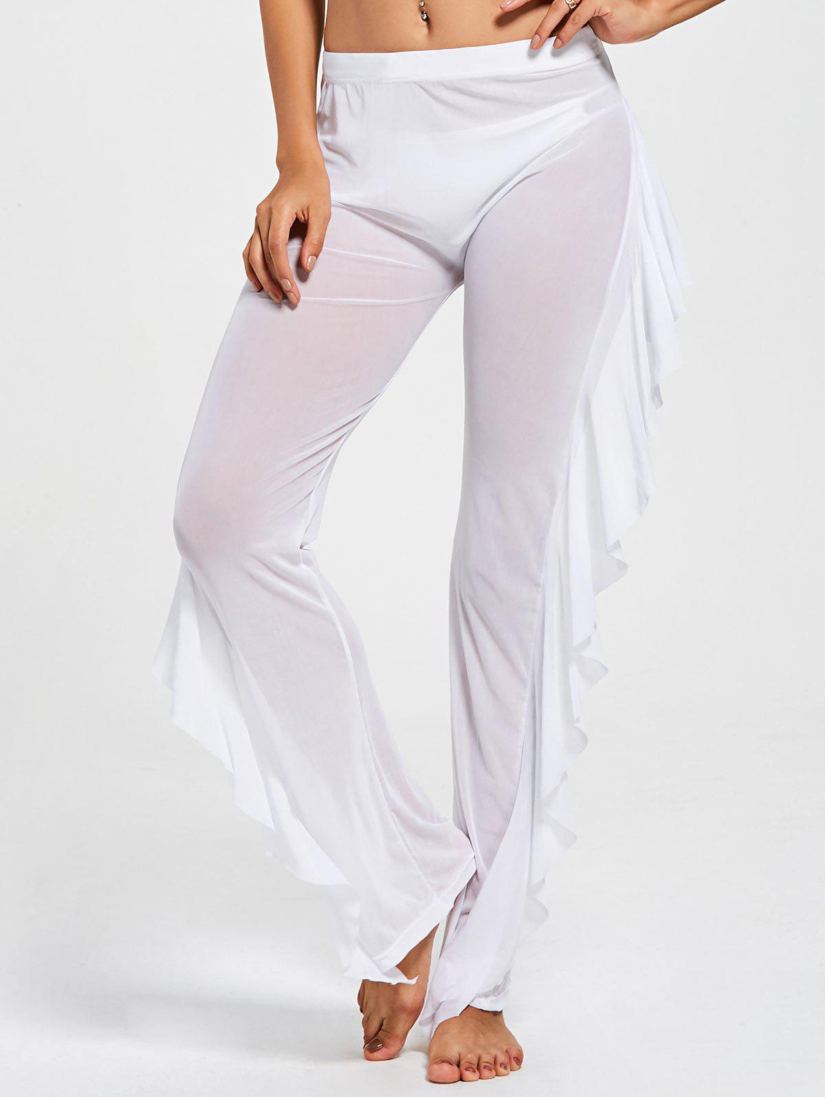 Hot Ruffled See Through Mesh Cover Up Pants