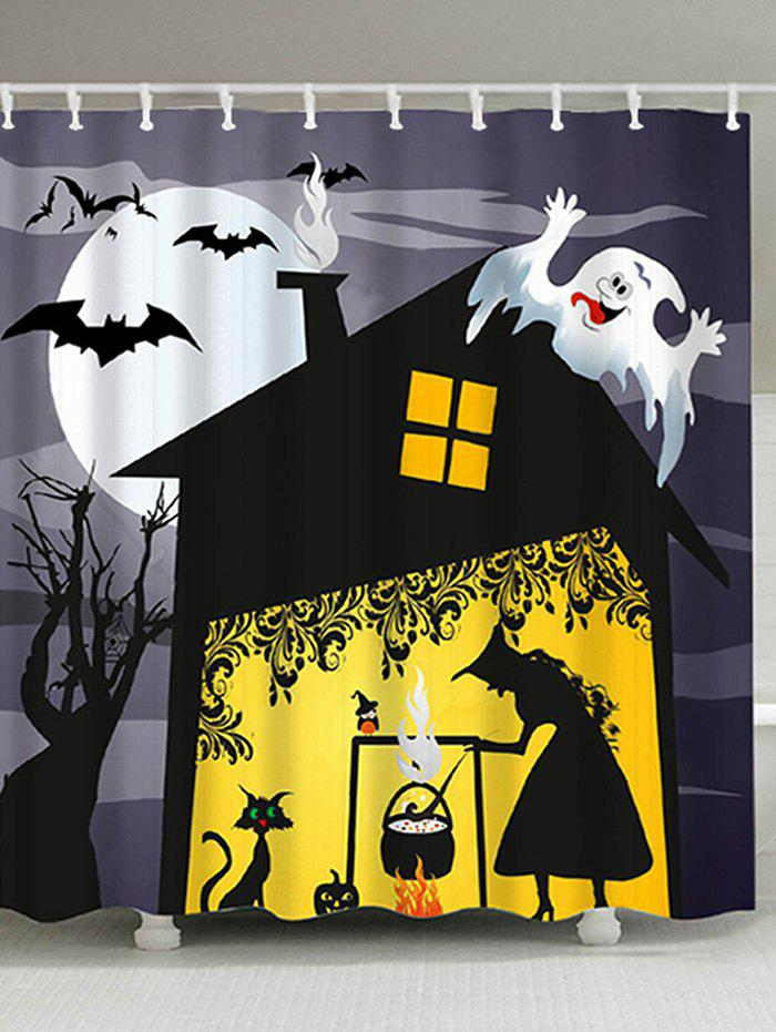 Halloween Night Witch Print Fabric Waterproof Bathroom Shower CurtainHOME<br><br>Size: W59 INCH * L71 INCH; Color: BLACK; Products Type: Shower Curtains; Materials: Polyester; Pattern: Animal,Cartoon,Moon; Style: Festival; Number of Hook Holes: W59 inch*L71 inch: 10; W71 inch*L71 inch: 12; W71 inch*L79 inch: 12; Package Contents: 1 x Shower Curtain 1 x Hooks (Set);