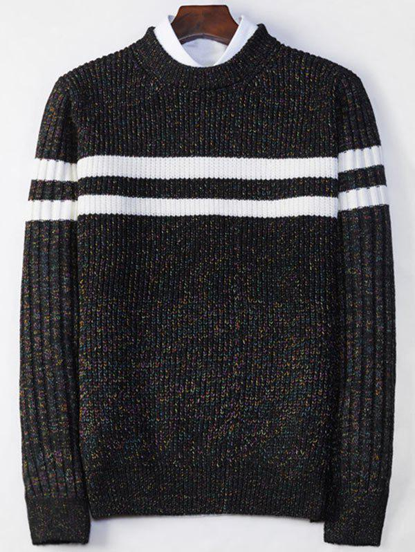 Latest Crew Neck Stripe Ribbed Knit Sweater