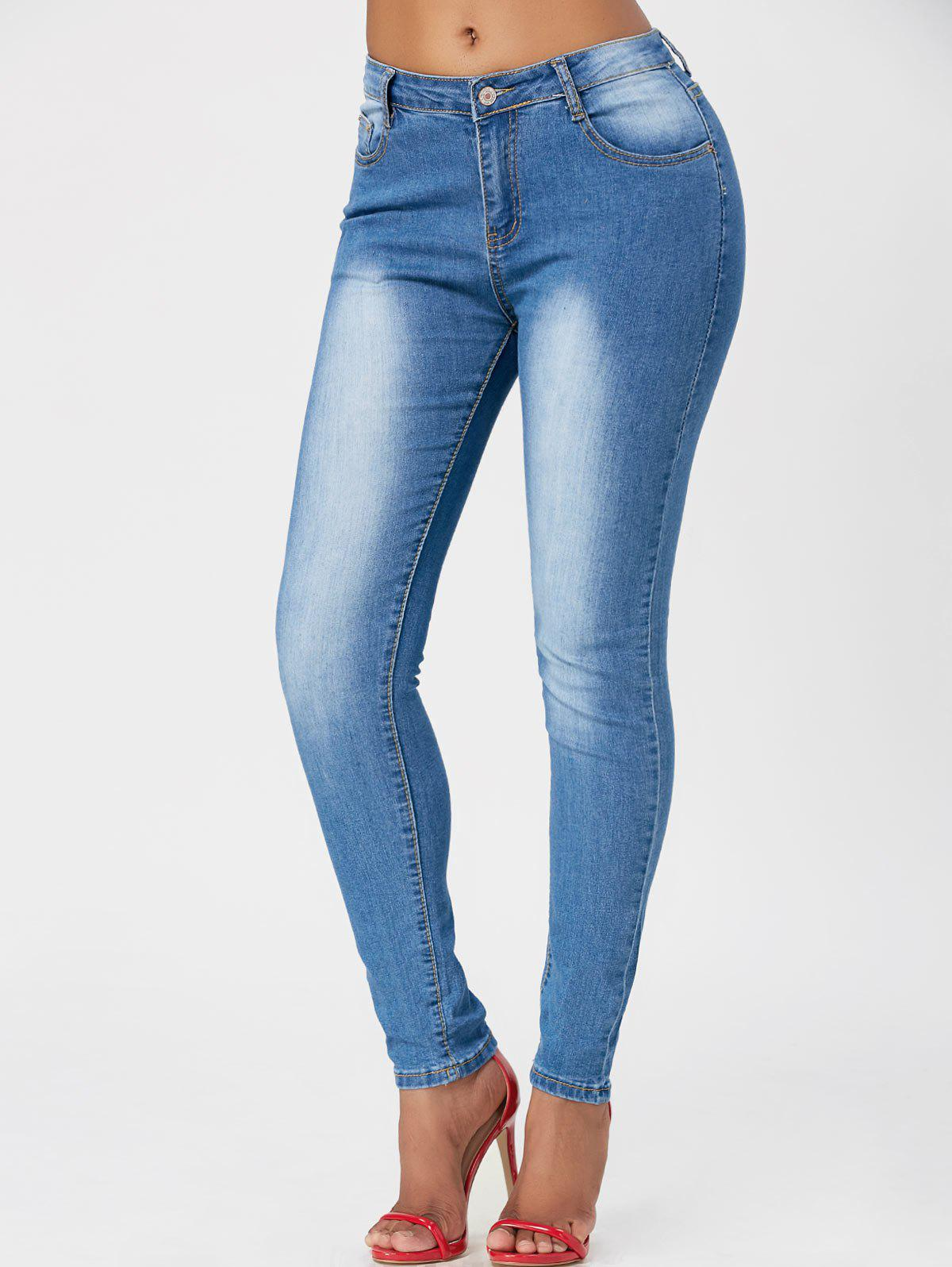 Washed High Waisted Skinny JeansWOMEN<br><br>Size: XL; Color: BLUE; Material: Cotton,Polyester,Spandex; Length: Normal; Fabric Type: Denim; Wash: Light; Fit Type: Skinny; Waist Type: High; Embellishment: Pockets; Elasticity: Elastic; Weight: 0.4700kg; Package Contents: 1 x Jeans;