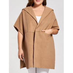 Plus Size Woolen Blend Hooded Poncho Coat - Khaki - 3xl