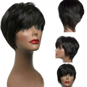 Short Inclined Bang Layered Silky Straight Synthetic Wig - Black