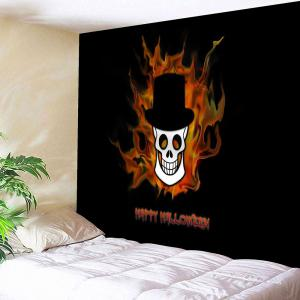 Happy Halloween Skull Printed Wall Tapestry - Black - W91 Inch * L71 Inch