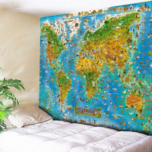 World Map Animal Wall Hanging Tapestry - Sky Blue - W79 Inch * L59 Inch