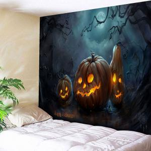 Pumpkin Lamp Happy Halloween Wall Tapestry - Blue And Orange - W91 Inch * L71 Inch