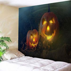 Halloween Pumpkin Lantern Pattern Wall Tapestry - Green+orange - W91 Inch * L71 Inch