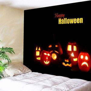 Happy Halloween Jack O Lantern Wall Hanging Tapestry - Black - W91 Inch * L71 Inch