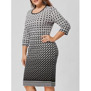 Ombre Geometric Plus Size Dress