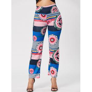 Ethnic Style Mid-Waisted Geometric Print Loose-Fitting Exumas Pants For Women