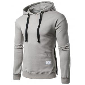 Side Button Slit Drawstring Hoodie