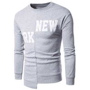 Graphic Print Asymmetric Panel Long Sleeve Sweatshirt - Light Gray - Xl