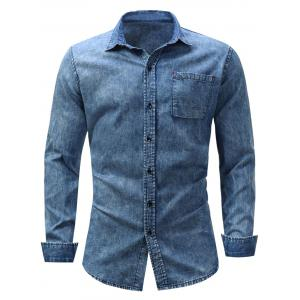 Pocket Bleached Effect Chambray Shirt