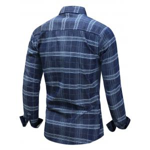 Long Sleeve Tartan Chambray Shirt - BLUE M