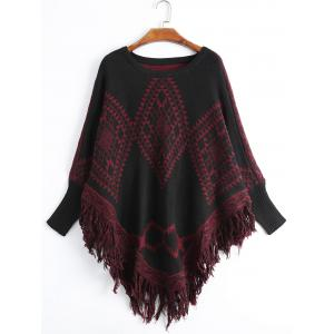 Geometric Fringed Plus Size Poncho Sweater - Deep Red - One Size