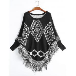 Geometric Fringed Plus Size Poncho Sweater - Black - One Size
