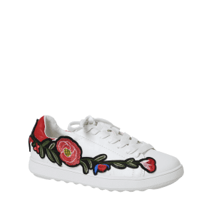 Embroidery Round Toe Faux Leather Sneakers -
