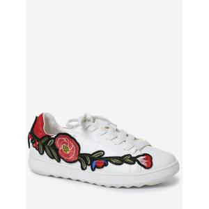 Embroidery Round Toe Faux Leather Sneakers - Red - 39