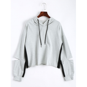 Color Block Drop Shoulder Crop Hoodie - Light Gray - 2xl