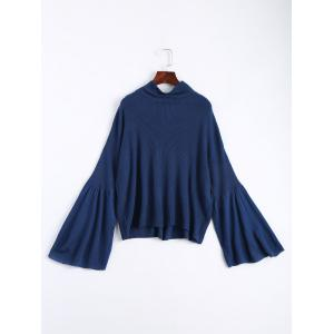 Drop Shoulder Flare Sleeve High Neck Sweater