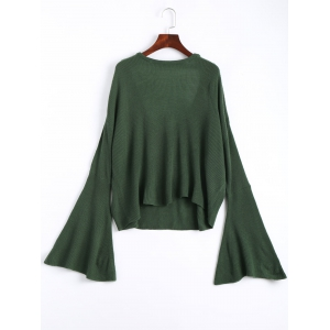 Long Flared Sleeve Drop Shoulder Knit Top - Green - One Size
