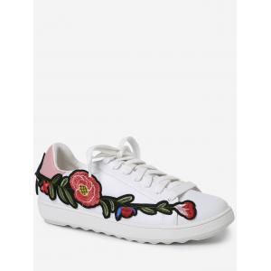 Embroidery Round Toe Faux Leather Sneakers - Pink - 37