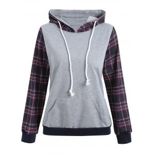 Hooded Drawstring Plaid Panel Hoodie