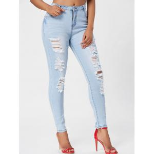 Light Wash Ripped Skinny Jeans - Blue - Xl