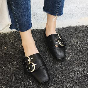 Double Buckles Strap Square Toe Flat Shoes -