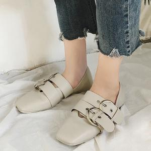 Double Buckles Strap Square Toe Flat Shoes - BEIGE 39