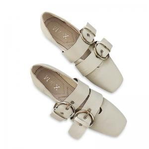 Double Buckles Strap Square Toe Flat Shoes - Beige - 38