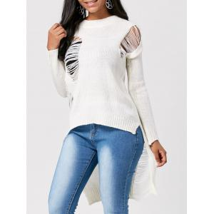 High Low Crew Neck Distressed Sweater