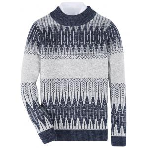 Mock Neck Tribal Geometric Pattern Sweater - Deep Blue - L