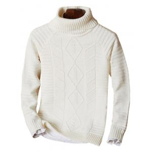 Ribbed Knit Funnel Neck Raglan Sleeve Sweater - Off-white - 3xl