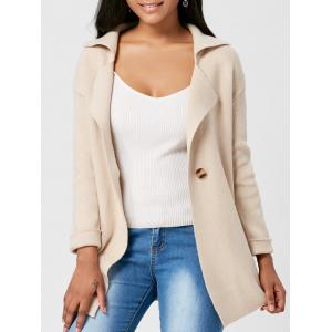 Lapel One Button Knitted Cardigan - Light Camel - One Size