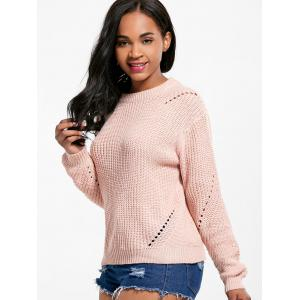 Long Sleeve Crew Neck Textured Sweater - LIGHT PINK ONE SIZE