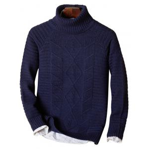 Ribbed Knit Funnel Neck Raglan Sleeve Sweater - Purplish Blue - L