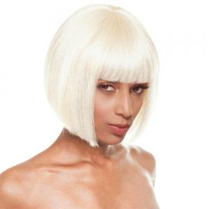 Short Neat Bang Straight Stacked Bob Synthetic Wig - Beige