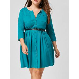 Belted Button Up Pocket Plus Size Dress - Lake Blue - 4xl