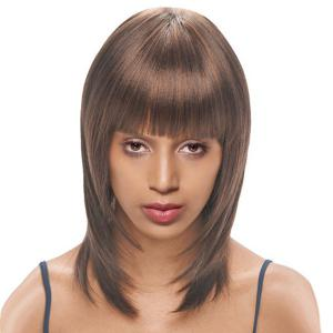 Medium Neat Bang Silky Straight Synthetic Wig - Brown